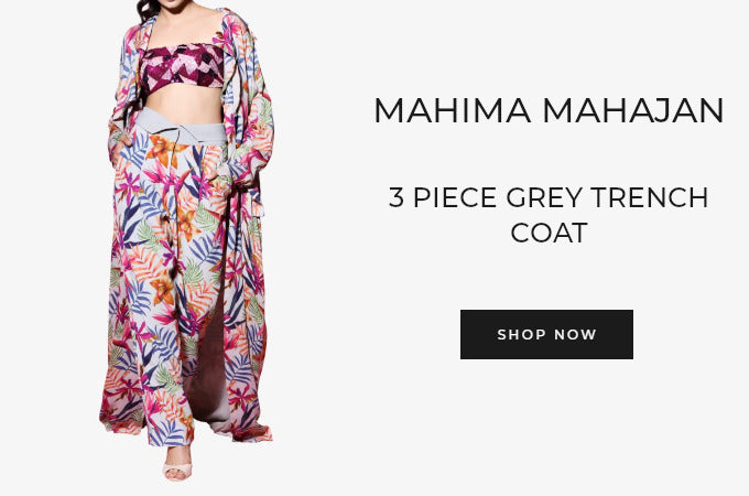 Mahima Mahajn 3 piece grey trench coat