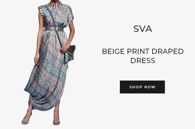 SVA beige printed draped dress