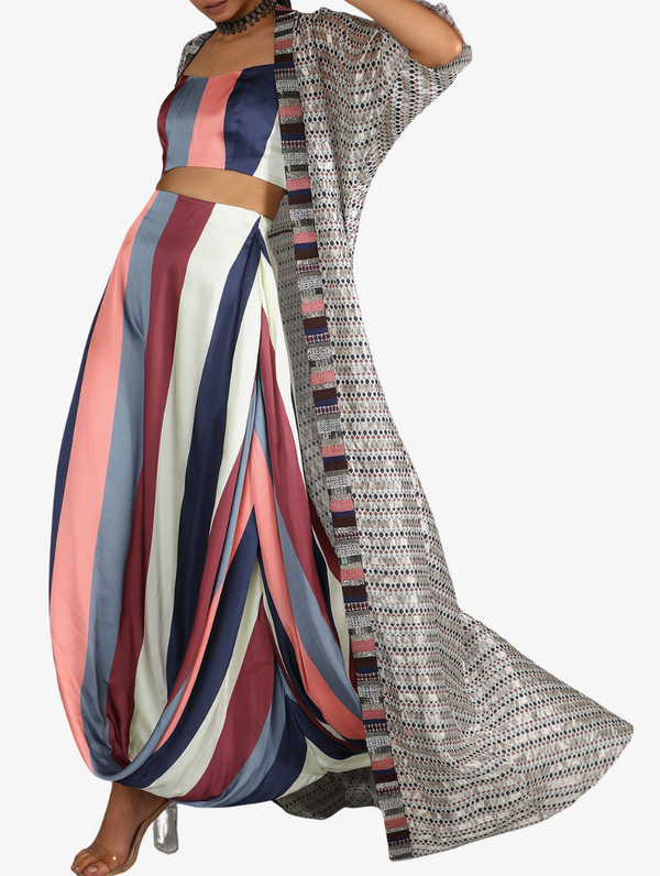 Stripe Print Bustier And Drape Skirt Paired With Jaali Print Chanderi Cape