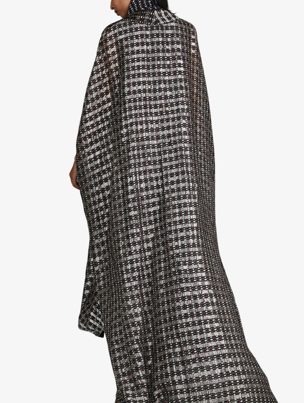 Black Jaali Print Chanderi Drape Skirt And Cape Paired With Turtle Neck Printed Top