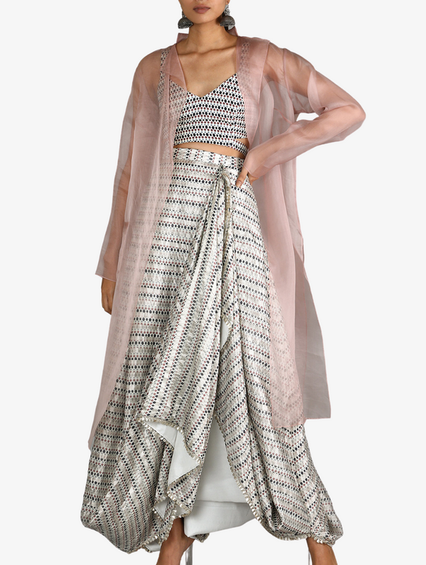 White Jaali Print Chanderi Drape Skirt With Printed Bustier Paired With Blush Pink Organza Jacket
