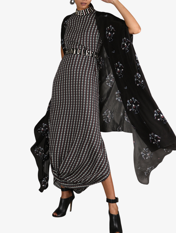 Black Jaali Print Drape Dress With Black Bird Print Cape