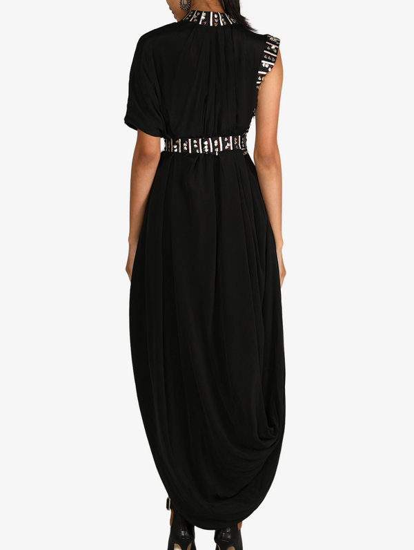 Solid Black Drape Dress With Embroiderey Details