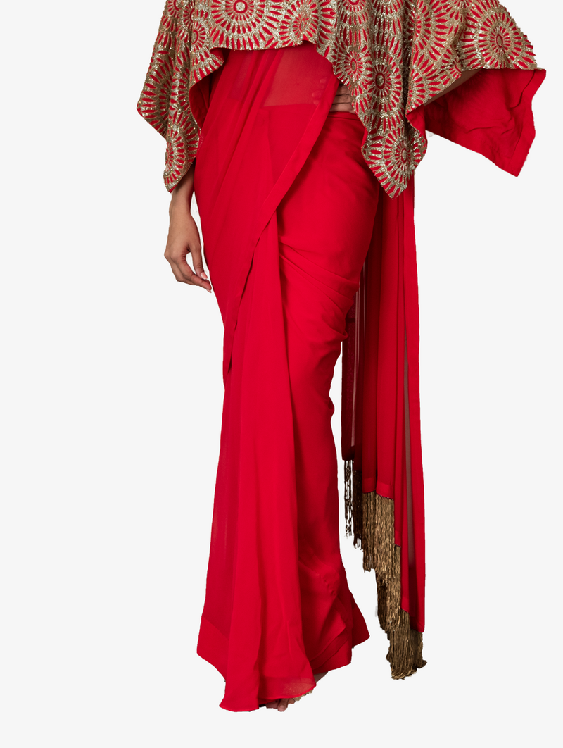 Timeless drape sari with chic cape in red