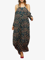 Asymmetrical persian paisley print draped maxi