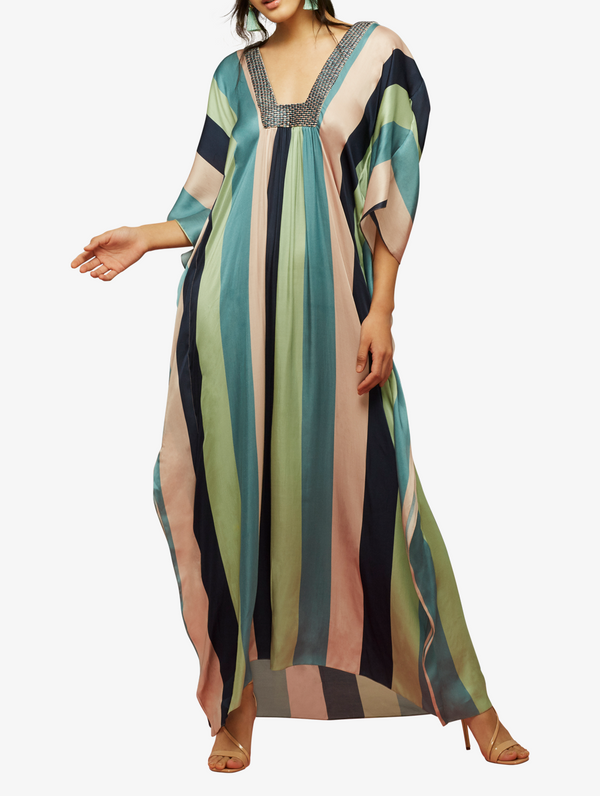 Bold striped kaftaan with galeecha textured neckline