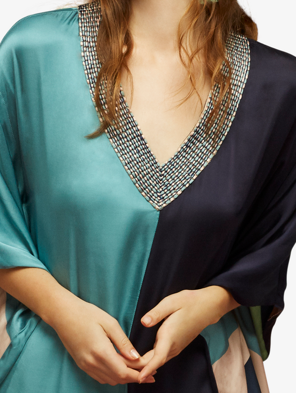 Teal and midnight blue kaftan with textured neckline