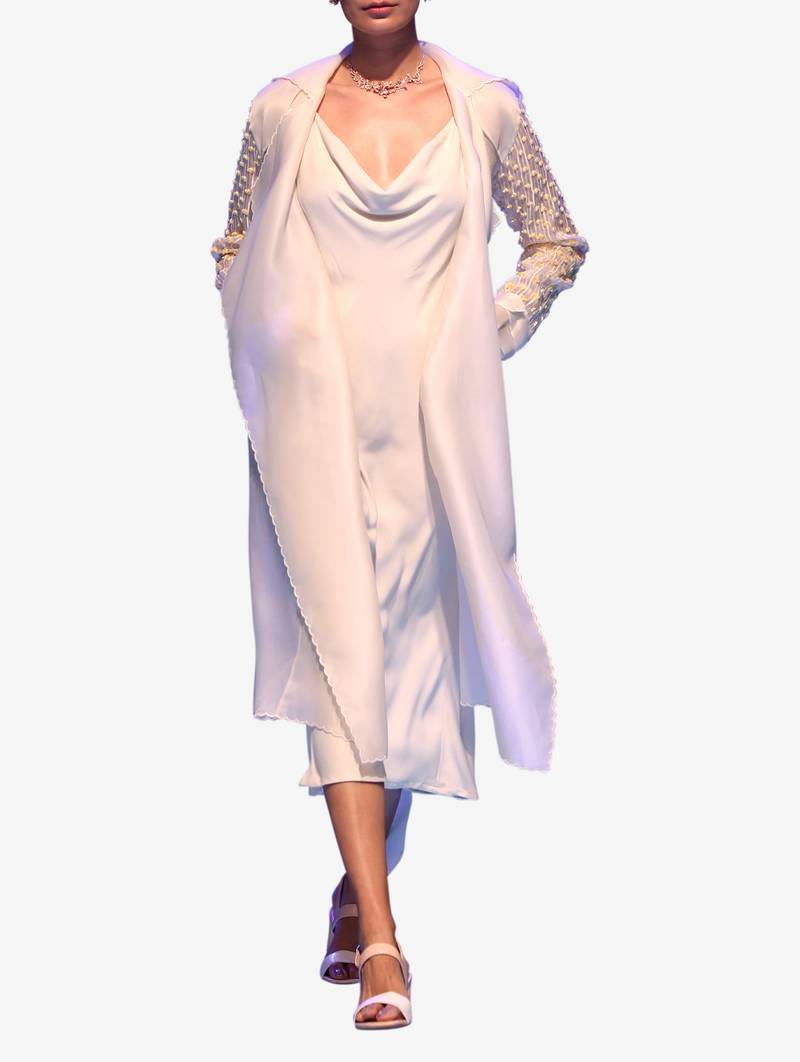 Ivory slip dress with trench coat