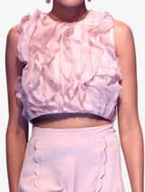 Deluxe organza ruffle top and pink trousers