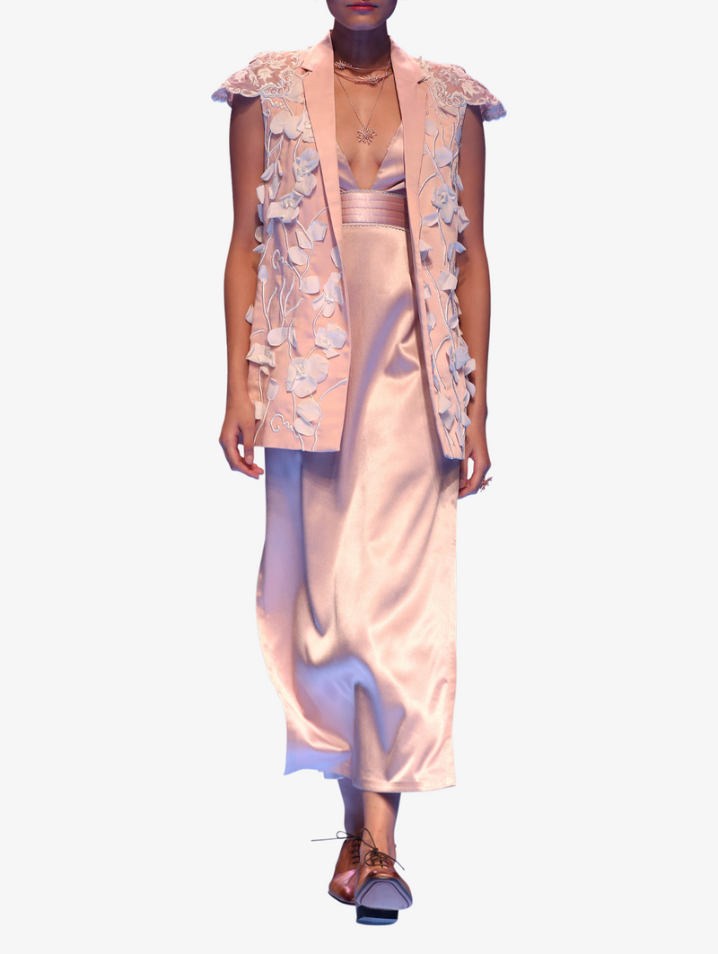 Pink satin slip dress and embroidered jacket