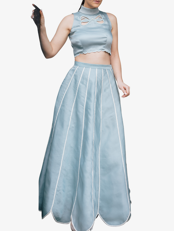 Powder blue bow crop top and skirt