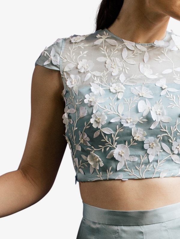 Petal embroidered crop top and ruffle skirt
