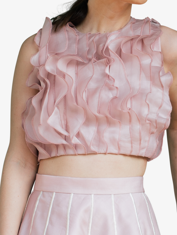Pink organza ruffle crop top and petal skirt