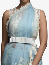 Blue floral hand-embroidered sari with diamond blouse