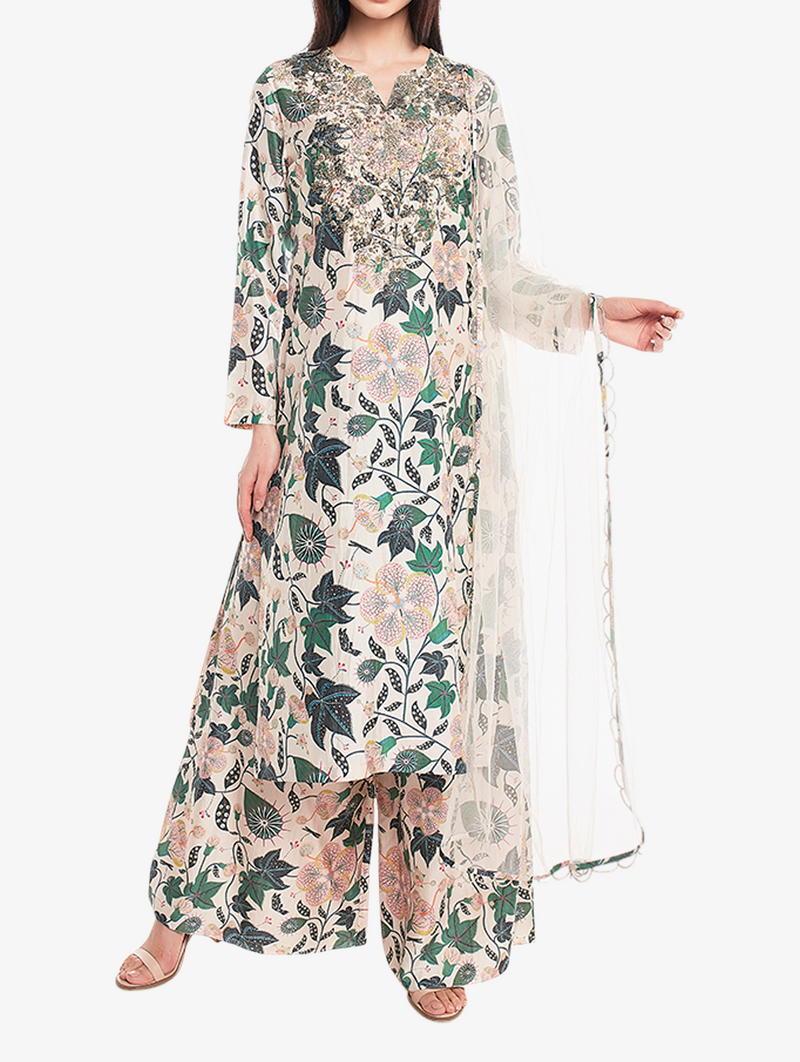 White abutlion print kurta set with net dupatta