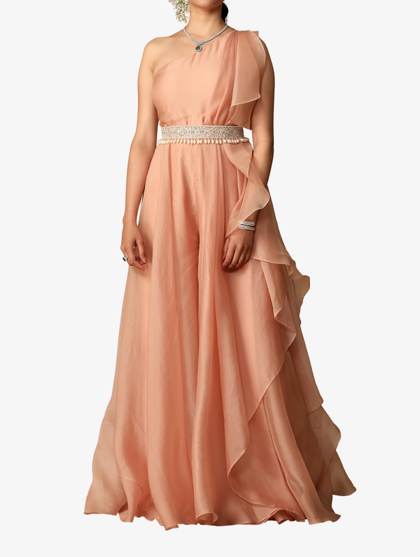 Peach one-shoulder organza jumpsuit