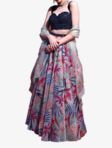 Nude tropical motif lehenga set