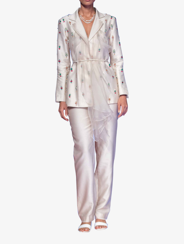 Ivory chanderi jeweled blazer with organza set
