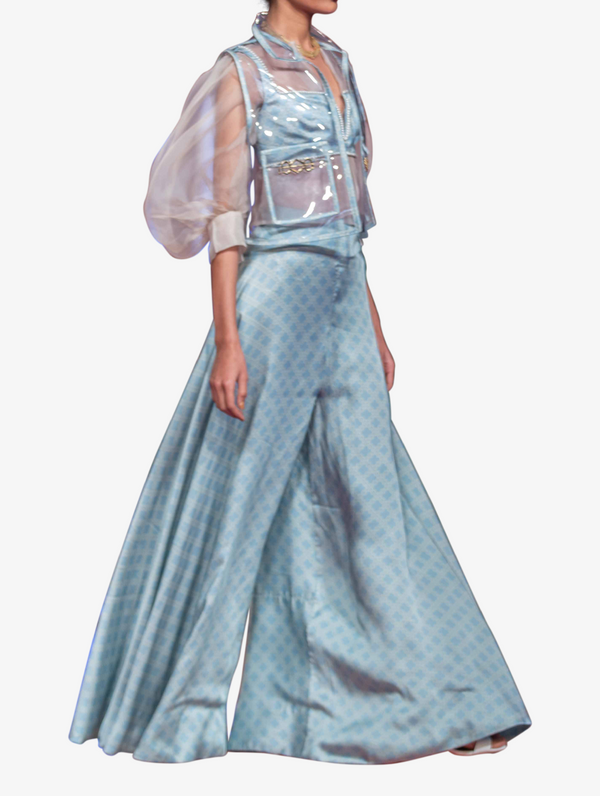 Blue bustier and trousers ensemble