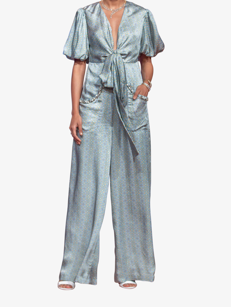 Blue printed satin jumpsuit