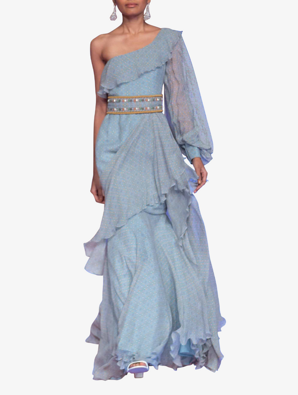 Blue printed chiffon maxi dress