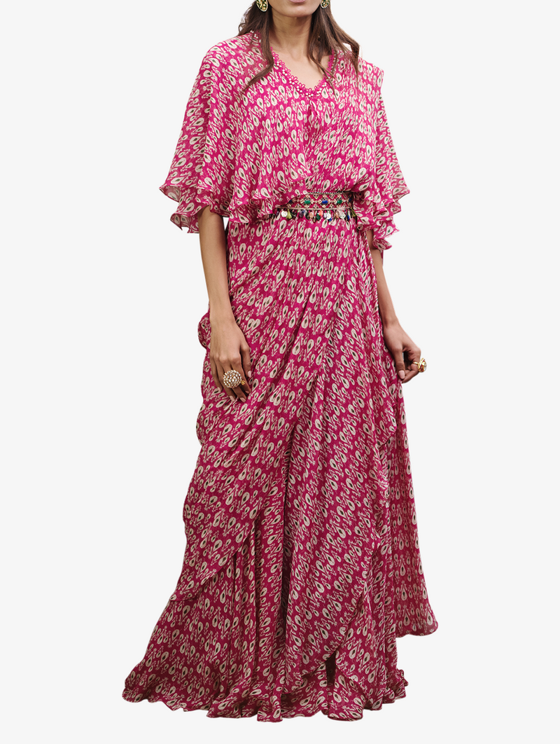 Fuschia printed sari cape and embellished belt