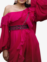 Fuschia ruffled jumpsuit