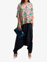 Khaki anaar print cape with navy silk crotch pants