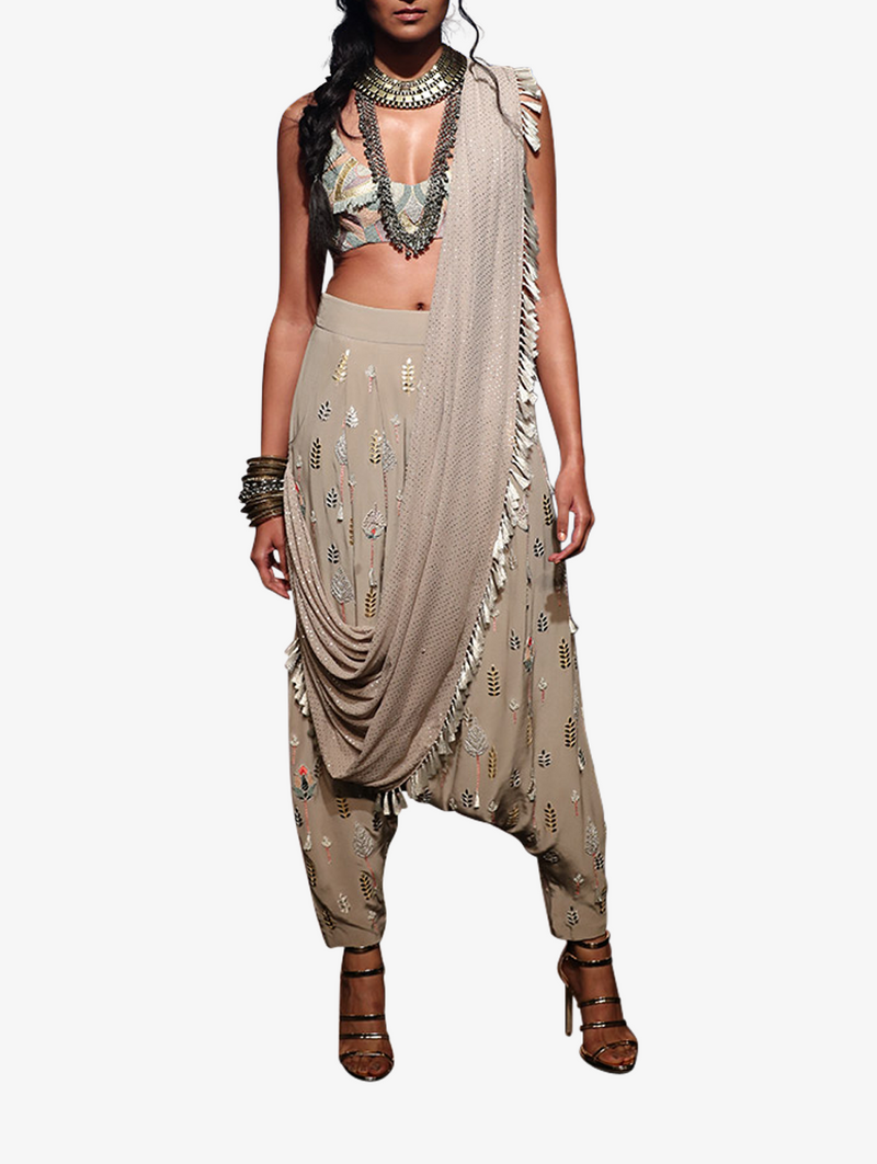 Grey crepe patch work embroidered choli with folk-embroidered low crotch pants with attached mukaish georgette drape