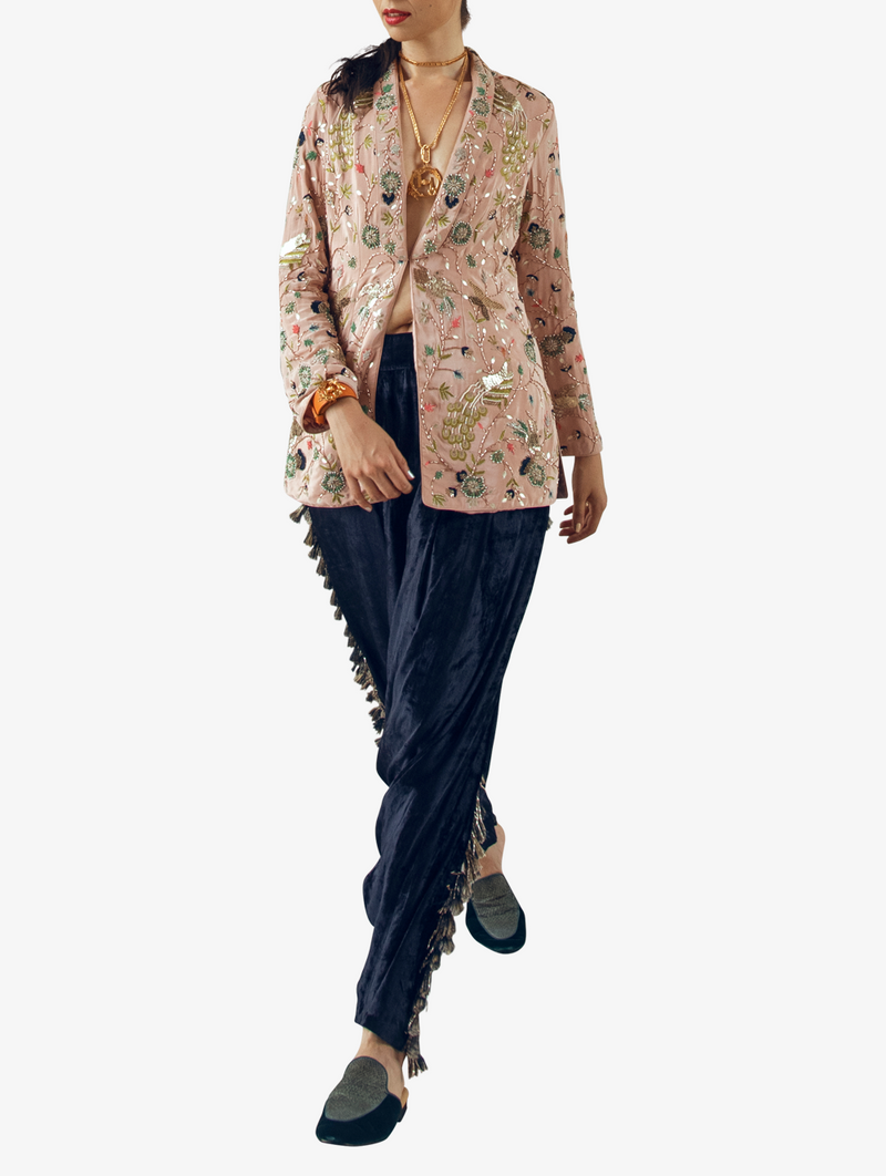 Rose print crepe embroidered jacket with navy blue low crotch pants