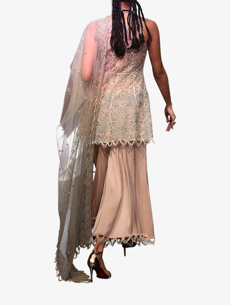 Off-white organza embroidered anarkali top with rose pink lining and silk palazzo with mint net dupatta