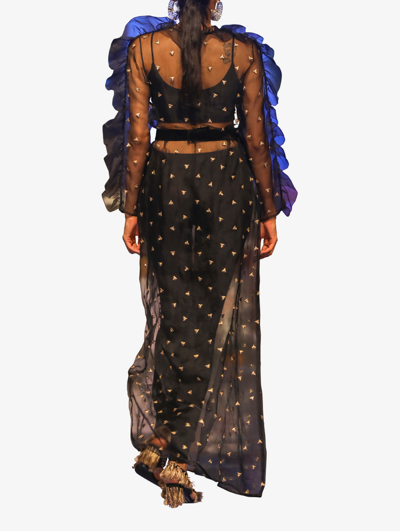 Black embroidered organza with long overlay kurta and lycra bustier and jogger pants