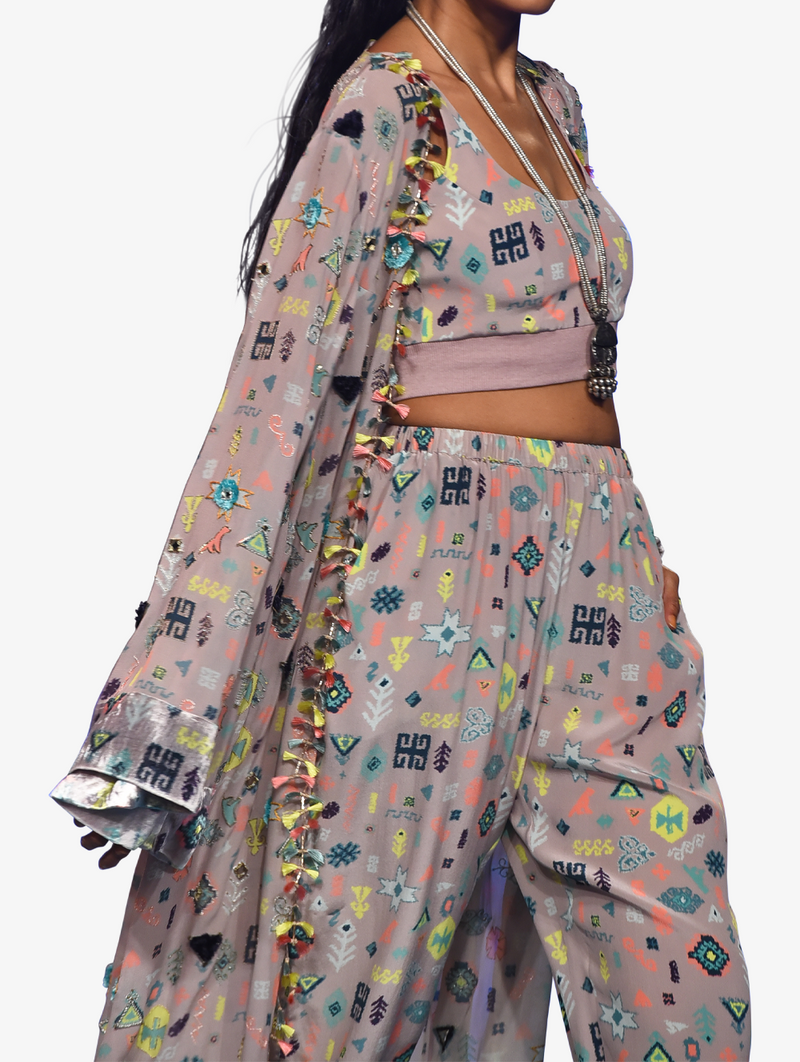 Lavender lime bandhini kilim print georgette embroidered jacket and crepe bustier with jogger pants