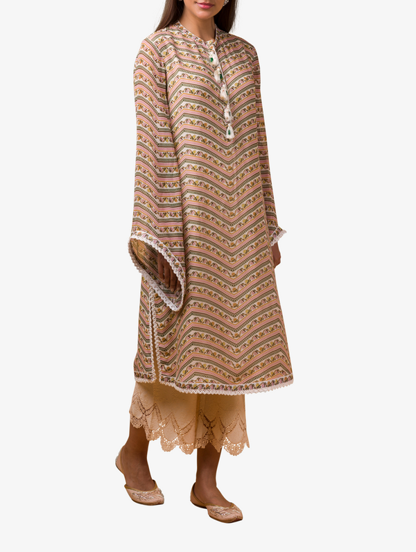 Beige printed kurta and pant set