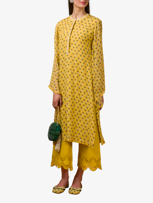 Yellow printed kurta and pants