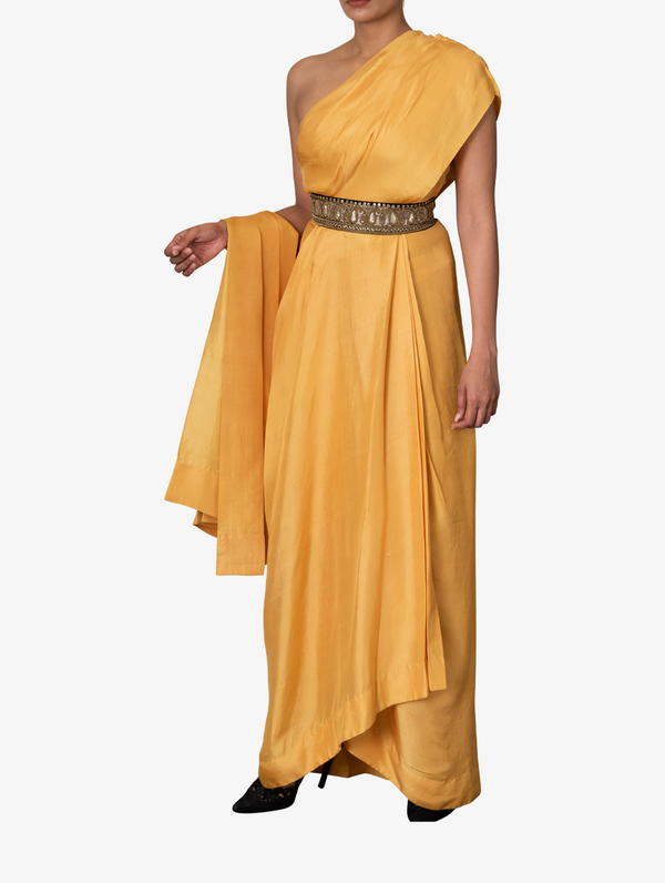 Yellow dupion silk one-shoulder dress and belt