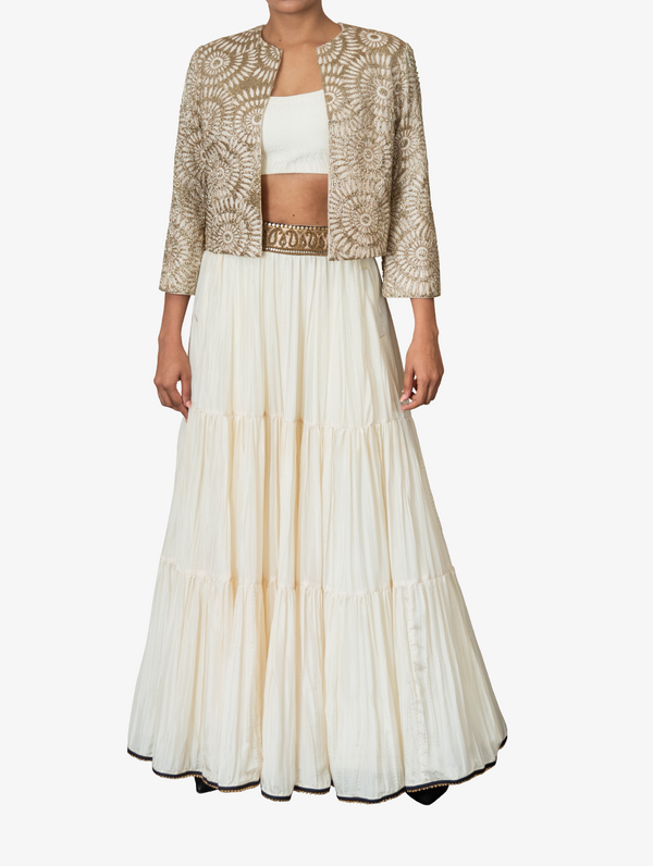 Embroidered jacket and skirt set