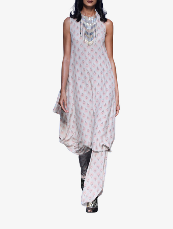 Blush fan print crepe cowl kurta with fringe tassel neckline and palazzo