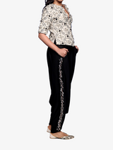 Chalk white georgette embroidered jacket with black lycra low crotch pants