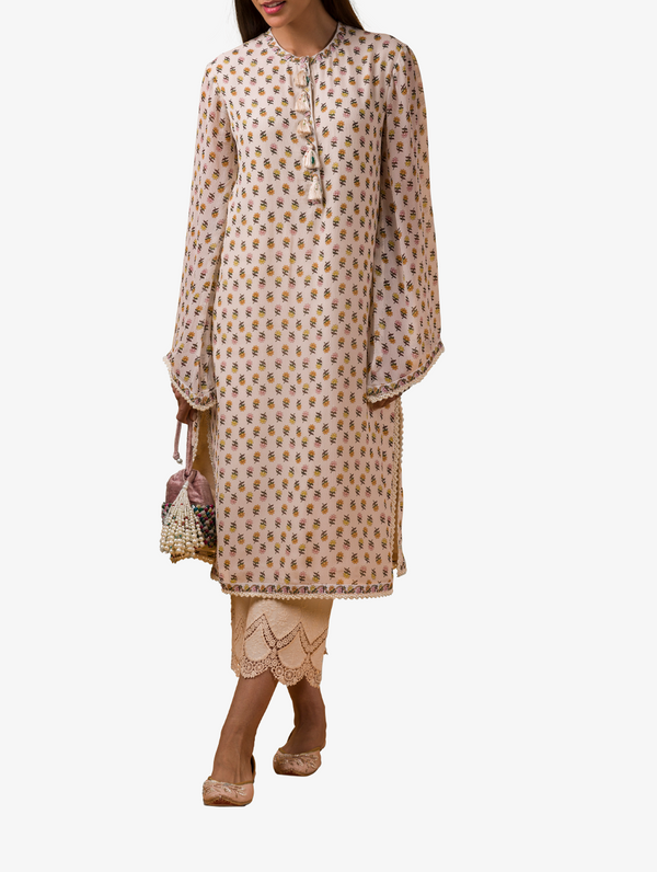 Ivory print kurta and pants