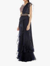 Navy blue organza and chiffon sari