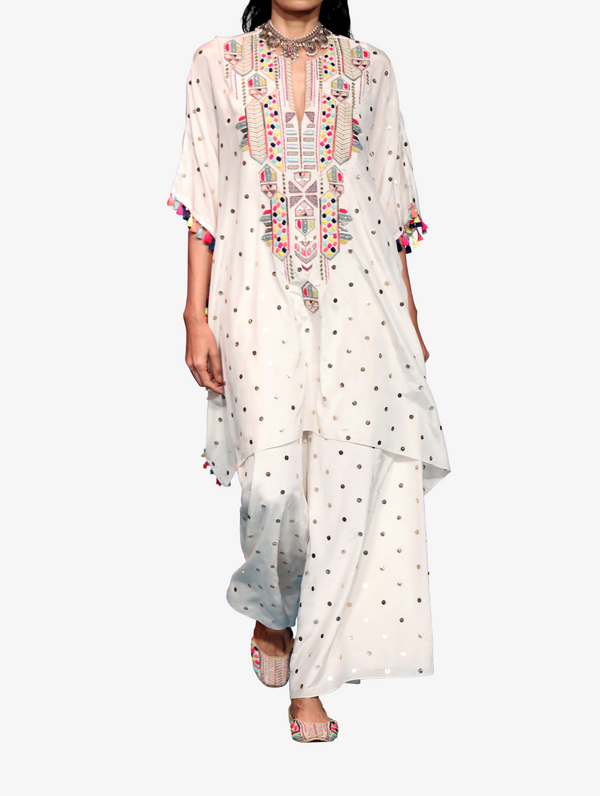 Off-white dot mukaish silk embroidered yoke kaftaan with tassels and palazzo pants