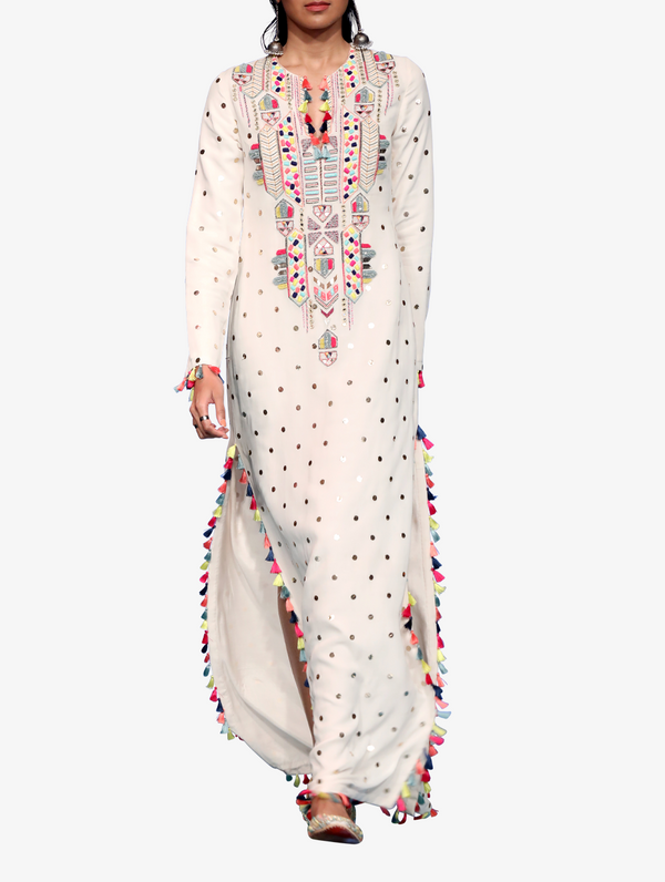 Off-white dot mukaish georgette yoke highslit kaftaan with tassels