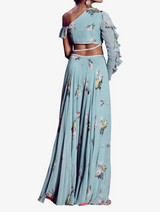 Aquamarine one off-shoulder palazzo