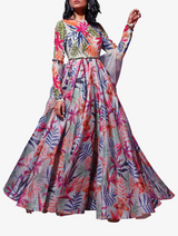 Tropical motif printed anarkali