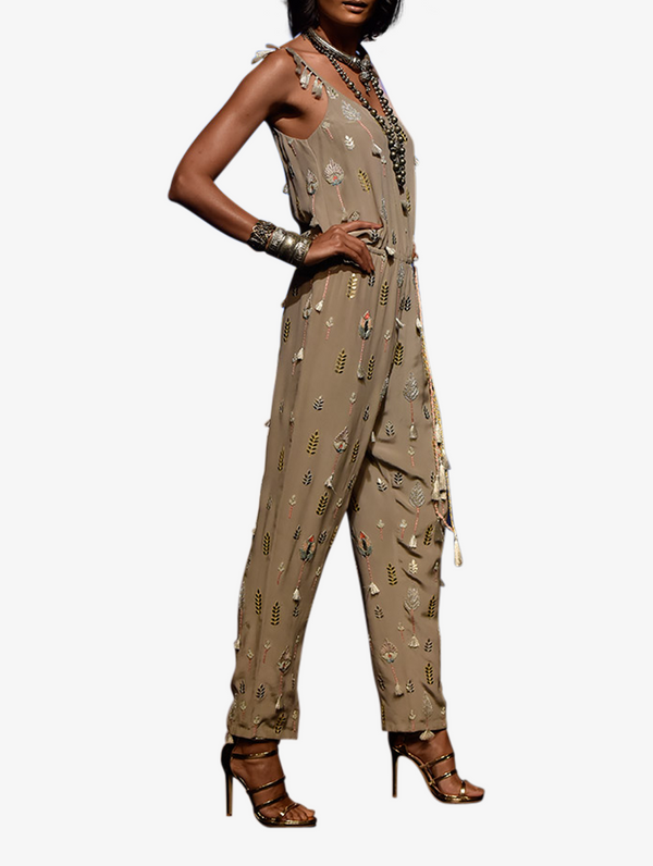 Grey crepe folk embroidered jumpsuit