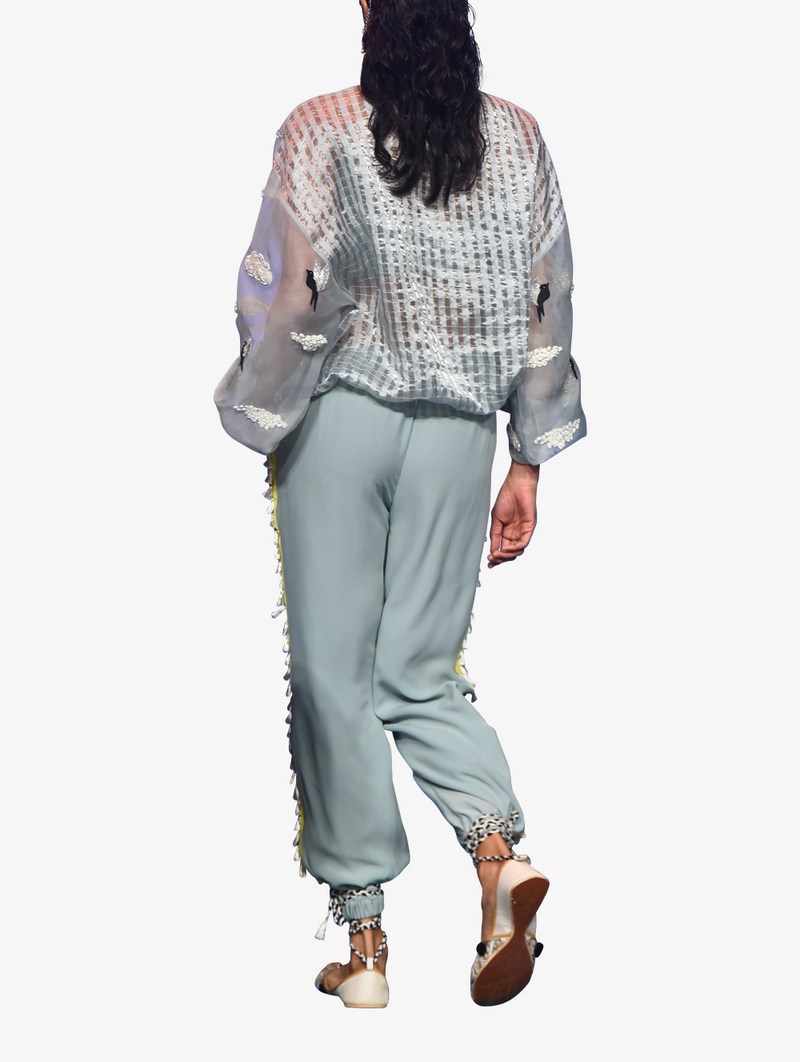 Pale blue organza set with jogger pants