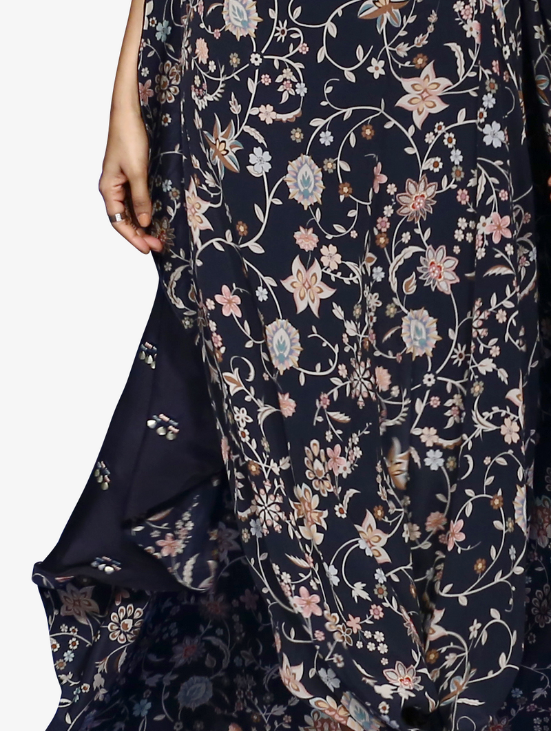Floral drape skirt set