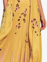 Yellow high waist lehenga with contrast blouse