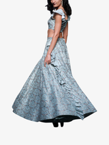 Aqua dec print dupion silk off-shoulder embroidered choli and lehenga with side ruffle